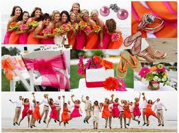 Spring wedding color ideas pink and orange are always great together especially for a beach wedding the colors just pop junglespirit Image collections